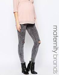 Mama Licious Mamalicious Sammy Maternity Jeans In Slim Fit Grey
