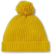 Connolly Goodwood Ribbed Cashmere Beanie Mustard
