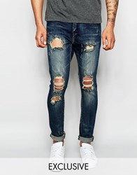 Underated Skinny Biker Jeans With Distressing Blue