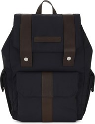 Brunello Cucinelli Nylon And Leather Backpack Navy