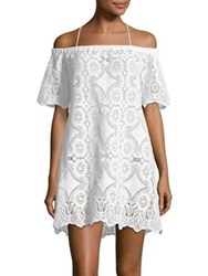 Lisa Maree Speakeasy Off The Shoulder Lace Cover Up Dress White