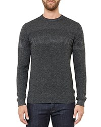Ted Baker Mixed Stitch Crewneck Sweater Gray Marl