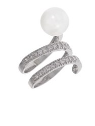Michela Pearl And Rhinestone Ring Pearl Silver