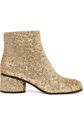 Marc Jacobs Camilla Glittered Leather Ankle Boots Gold