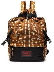 Burberry Animal Print Drawstring Backpack Brown Multi