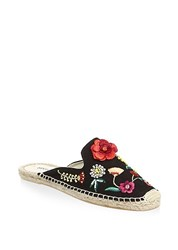 Soludos Floral Canvas Mules Black