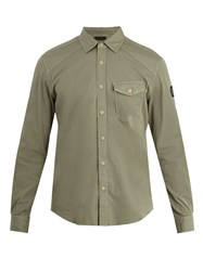 Belstaff Steadway Single Cuff Stretch Cotton Blend Shirt Green