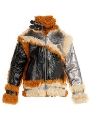 Marques Almeida Shearling Trim Panelled Leather Jacket Multi
