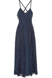 Alice Olivia Jayda Lace Trimmed Silk Crepe De Chine Gown Navy