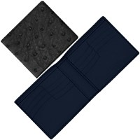 Maison Takuya Ostrich T6 Wallet Black And Midnight Blue Lining