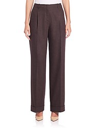 Lafayette 148 New York Flannel Pleated Straight Leg Pants Coffee