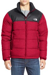The North Face Men's 'Nuptse' Packable Quilted Goose Down Jacket Tnf Red Asphalt Grey