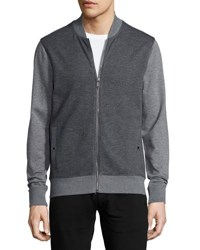 Michael Kors Waffle Knit Zip Front Sweater Gray Multi