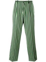 Walter Van Beirendonck Striped Loose Fit Trousers Men Cotton Wool 48 Black