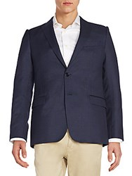 Armani Collezioni Checked Wool Jacket Navy