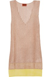 Missoni Layered Metallic Crochet Knit Tunic Pink