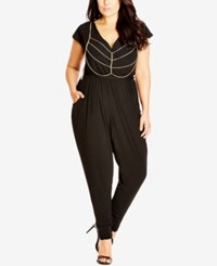 City Chic Plus Size V Neck Jumpsuit With Rib Cage Chain Black