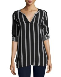 Lucca Couture Long Sleeve Stripe Print Tunic Top Blue