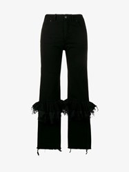 Preen By Thornton Bregazzi Ruffle Knee Flared Jeans Black
