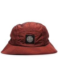 Stone Island Red Logo Embroidered Patch Bucket Hat