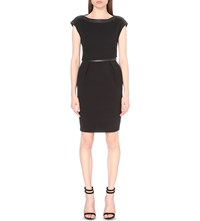 The Kooples Leather Trimmed Crepe Dress Black