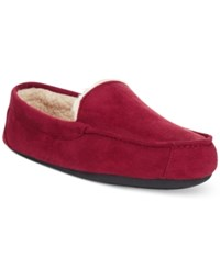 Club Room Men's Slippers Evan Suede Sherpa Lined Wool Loafers Red