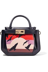 Tina Craig For Gianfranco Lotti Galaga Small Printed Paneled Leather Tote Red