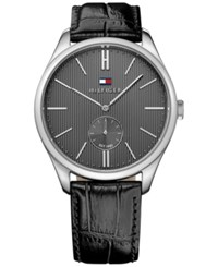 Tommy Hilfiger Men's Sport Luxury Black Croc Embossed Leather Strap Watch 44Mm 1791168