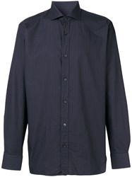 Z Zegna Long Sleeve Fitted Shirt Blue