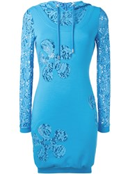 Moschino Lace Panel Hoodie Dress Blue