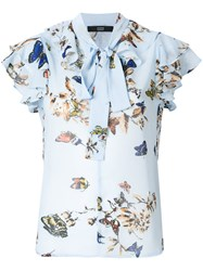 Steffen Schraut Butterfly Print Blouse With Pussy Bow Blue