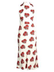 Alexander Mcqueen Poppy Print Ruffle Back High Neck Crepe Midi Dress Ivory Multi