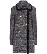 Dolce And Gabbana Fur Trimmed Virgin Wool Silk Blend Coat Black