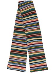 Paul Smith Ps By Striped Scarf Brown
