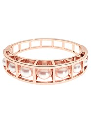 Karen Millen Cube Cage Pearl Bangle Rose Gold