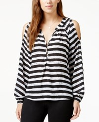 Xoxo Juniors' Striped Button Front Cold Shoulder Top