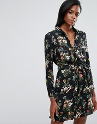 Oasis Floral Print Pyjama Shirt Dress Black