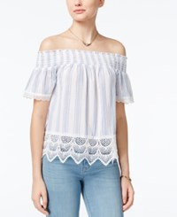 Almost Famous Crave Fame Juniors' Printed Lace Trim Off The Shoulder Top Blue White