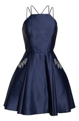 Blondie Nites Satin Halter Neck Party Dress Navy