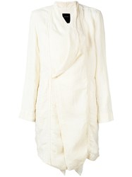 Pas De Calais Draped Front Midi Coat Women Cotton Linen Flax Rayon 36 White
