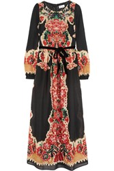 Red Valentino Printed Wool Maxi Dress Red