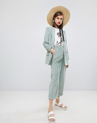 Moss Copenhagen Wide Leg Tailored Trousers In Corduroy Co Ord Dusty Mint Green