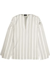 Joseph Denver Striped Cotton And Silk Blend Blouse White