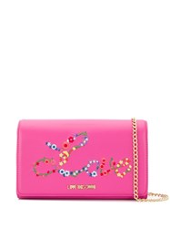 Love Moschino Embroidered Clutch Bag Pink