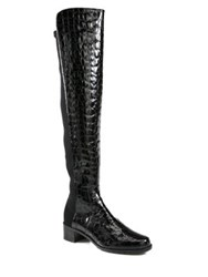 Stuart Weitzman Reserve Crocodile Print Patent Leather Boots Black