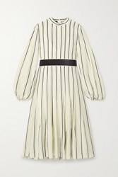 Akris Belted Striped Mulberry Silk Crepe De Chine Dress Off White