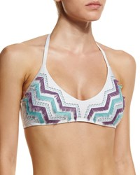 Luxe By Lisa Vogel Birds Of A Feather Halter Swim Top White