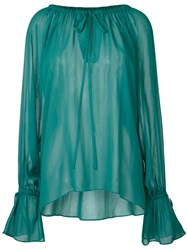 En Route Sheer Peasant Blouse Women Cupro One Size Green