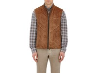 Luciano Barbera Men's Quilted Suede Vest Tan