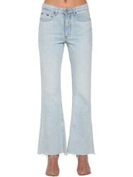 Maison Martin Margiela Mid Rise Flared Cotton Denim Jeans Light Blue